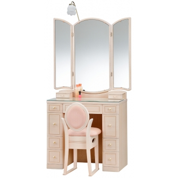 三面鏡 ドレッサー フローラル ホワイト色