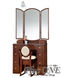三面鏡 ドレッサー フローラル ナラダーク色